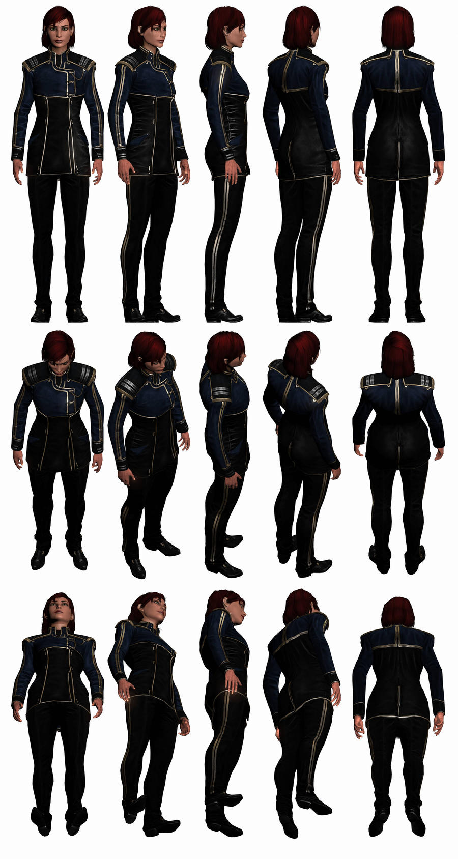 Mass Effect 3, Female Shepard Alliance Uniform. by Troodon80