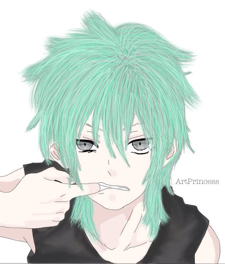 Anime Boy Green Hair By Hinamori Nichan On Deviantart