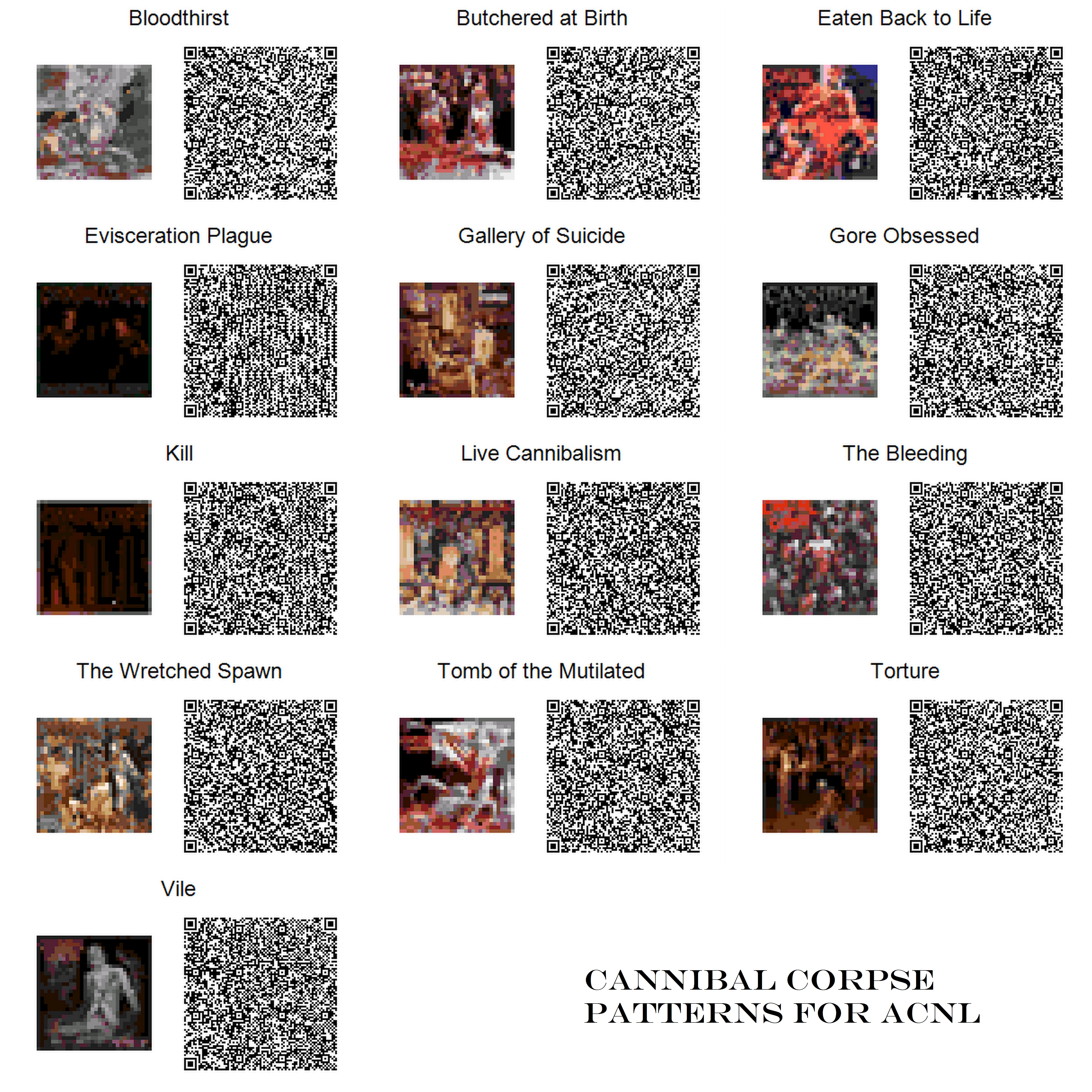 Cannibal Corpse Pattern Qrcodes For Acnl By Toxicsquall On