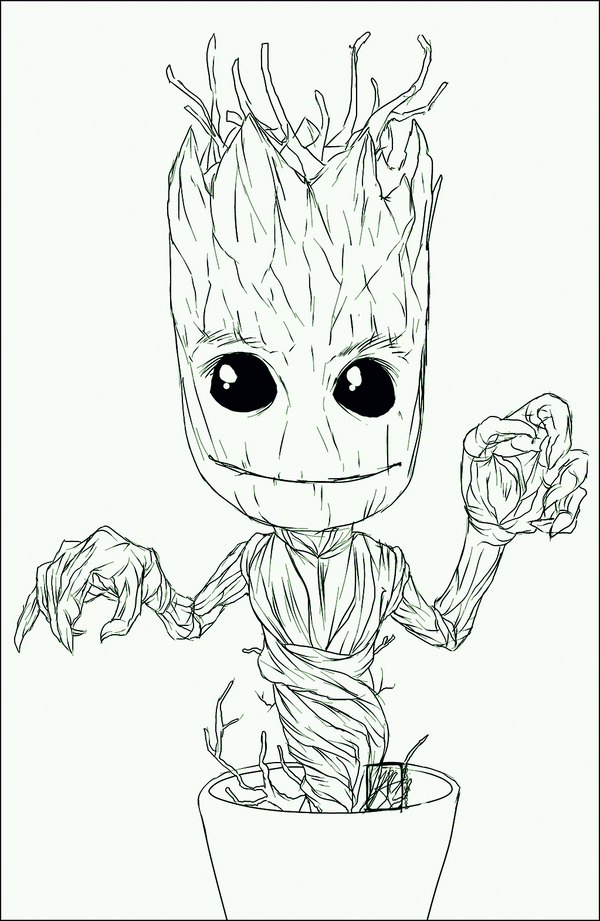 Commission pixel baby dancing groot by invisiblerainart on for Groot coloring pages