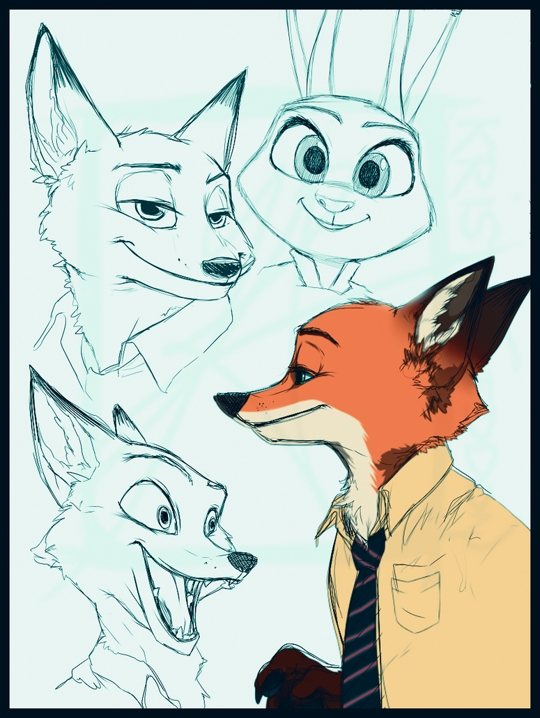 Zootopia sketches by InvisibleRainArt