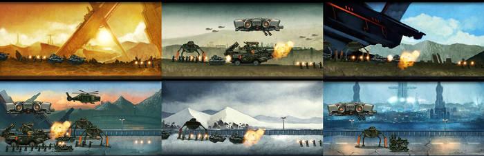 Sci-fi war by Langewong