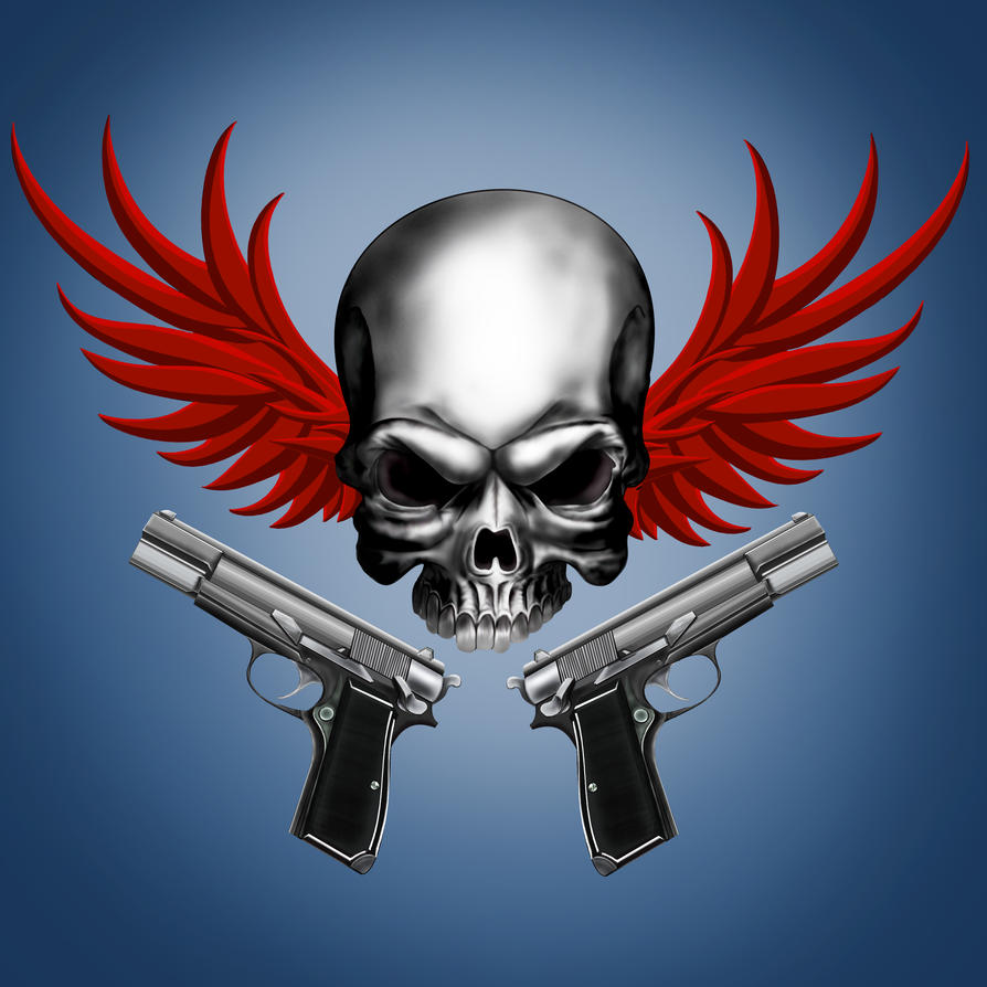 Drawings Easy Skull With Guns: Winged Skull With Guns By Zyari On DeviantArt