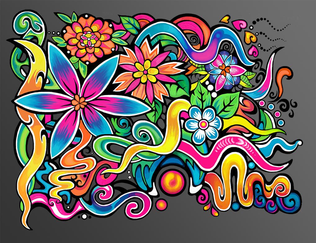 Rainbow Floral Pattern by Zyari