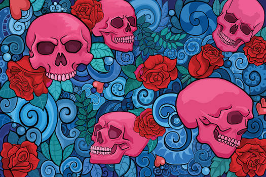 Skulls and Roses Pattern