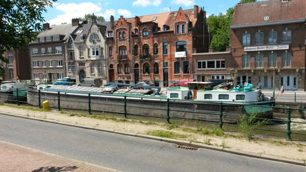 Barges on the canal, Halle, Belgium