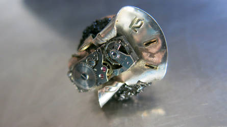 Vintage-steampunk ring with clock mechanism_ref.R4