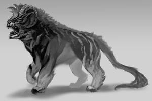 WIP tiger creature hybrid by Clearmirror-StillH2O