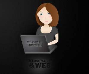 Laptop Girl by Hebbylaya