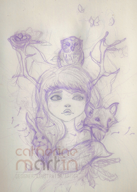 Girl of the Forest Sketch by flashparade