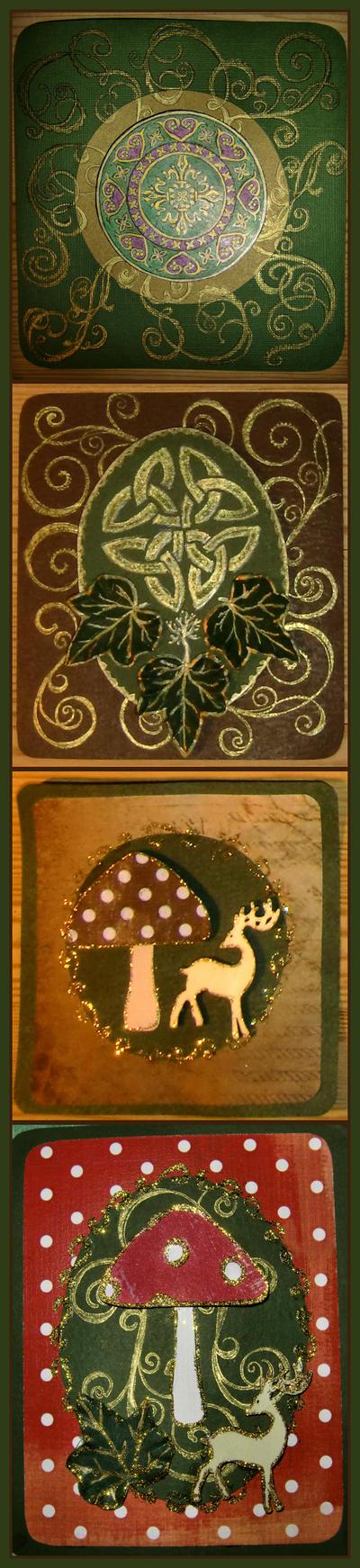 Celtic and Mushroom Yule Cards