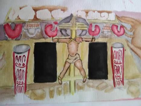 copy of Jesus on an Aztec pyramid