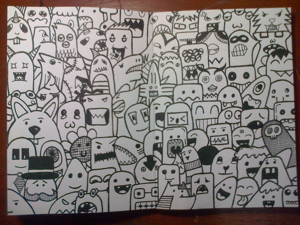 Doodle art monster by rachmatarrmdhn on deviantart for How to doodle names
