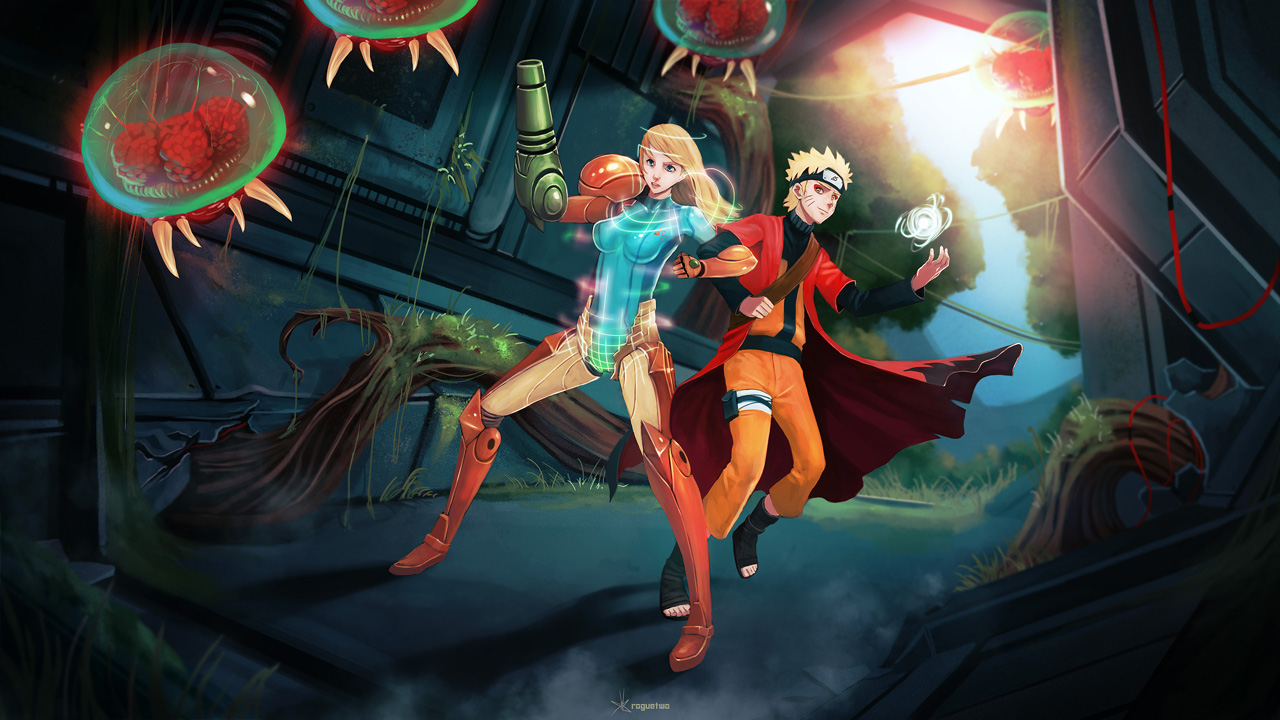 Samus and Naruto - Commission by Roguetwo