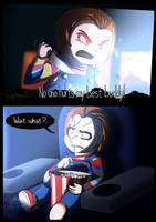 Chucky watching Child's Play remake