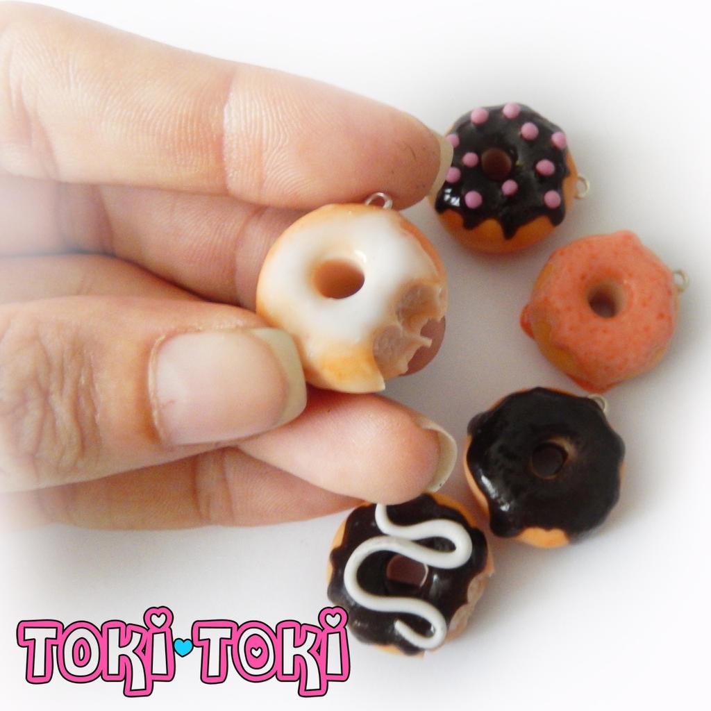 Polymer Clay Handmade Donut Charms by MadeByTokiToki