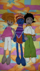 Three knitted dolls by Fuffe-Tuff