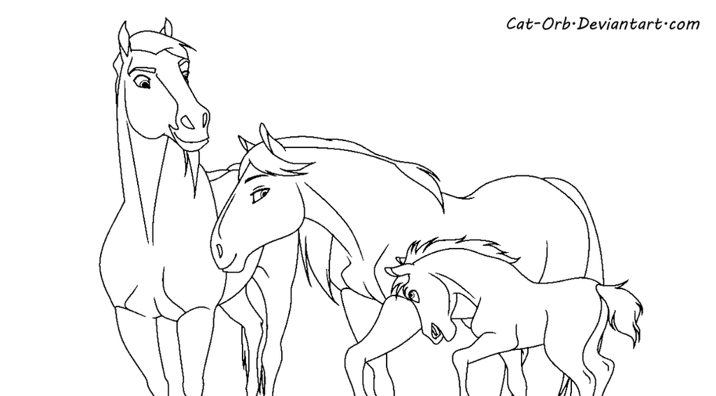 Spirit family lineart by Paint Horse Coloring Pages