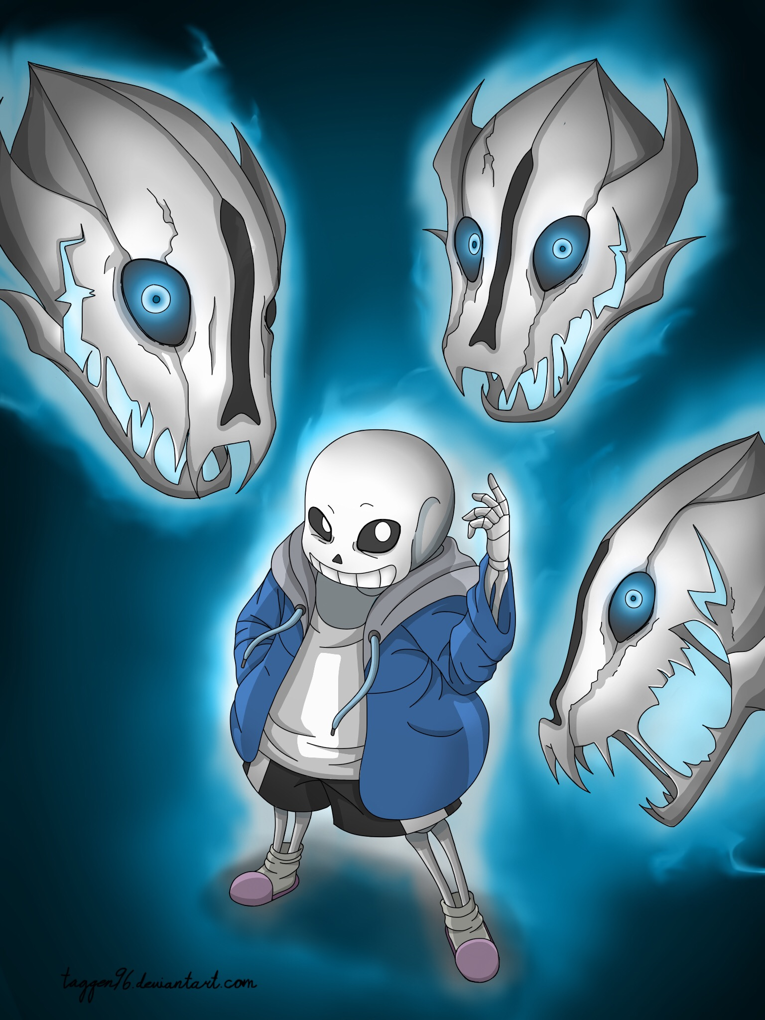(Art trade) Sans with his gaster blasters by taggen96
