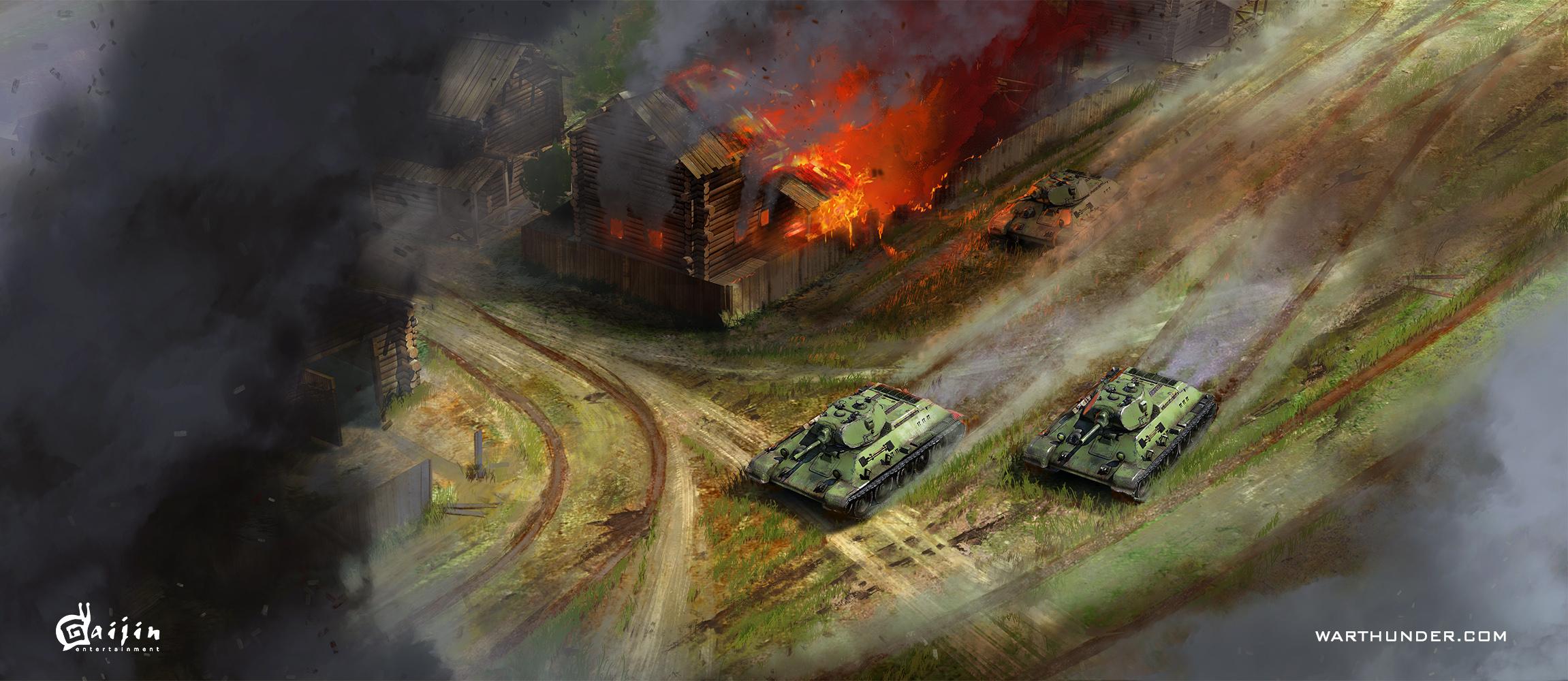 рисунок Т-34 прорываются в деревню