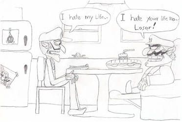 Two guys at a meal by Max-Blast