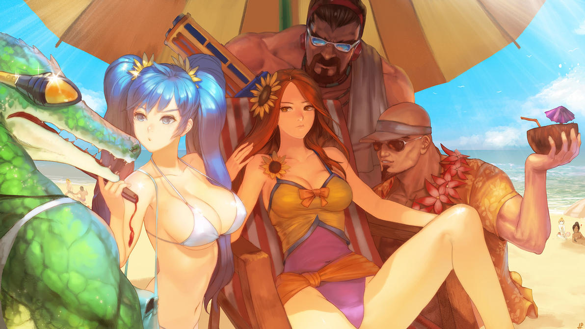 league of legends pool party skin fanart by InstantIP