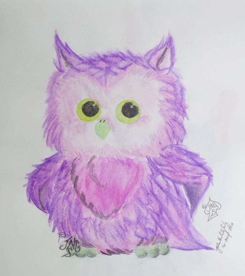 Owl - Watercolor pencils - September by nonecansee