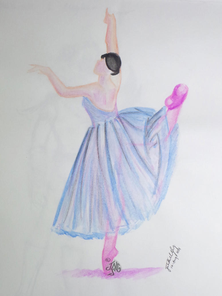 Ballerina - Watercolor pencils - September 2014 by nonecansee