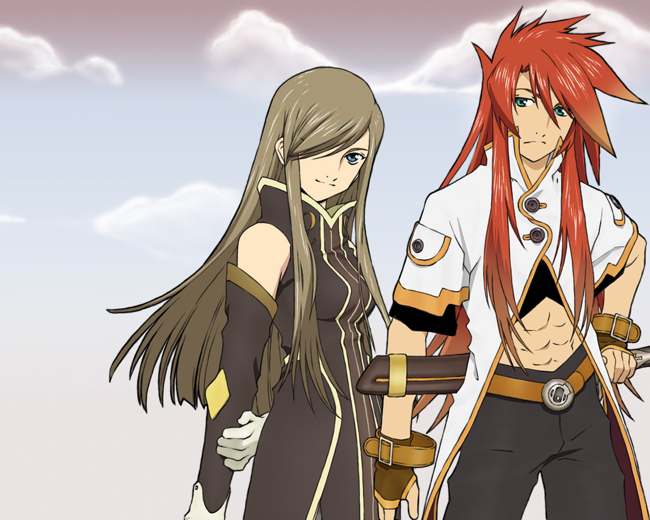 Brown_hair couple field flower gloves long_hair luke_fon_fabre red_hair redhead smile spoilers tales_of(series)