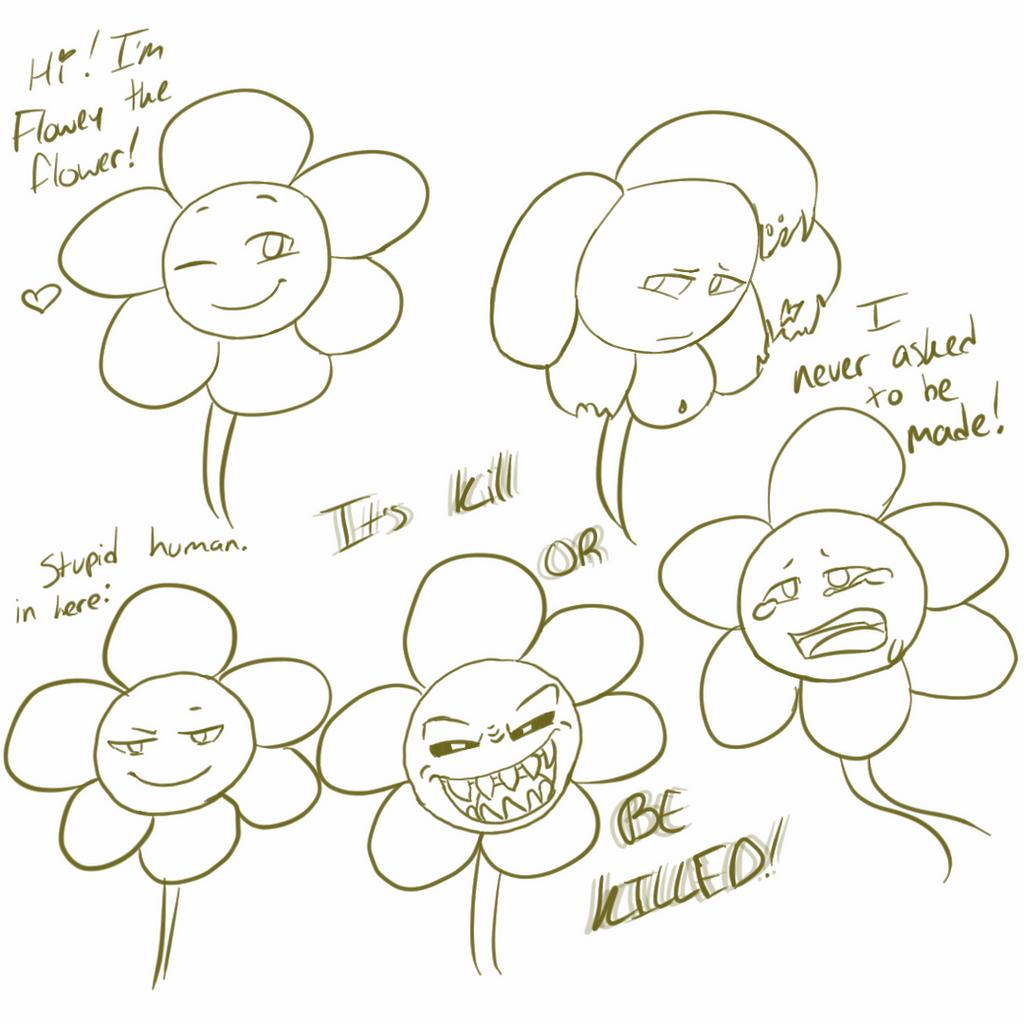 Flowey the flower sketches spoiler by Channydraws on DeviantArt