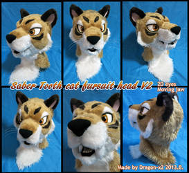Saber tooth cat fursuit head V2 by dragon-x2