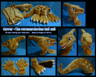 Copper the parasaurolophus half suit by dragon-x2