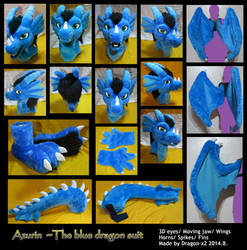 Azurin the blue dragon full suit by dragon-x2