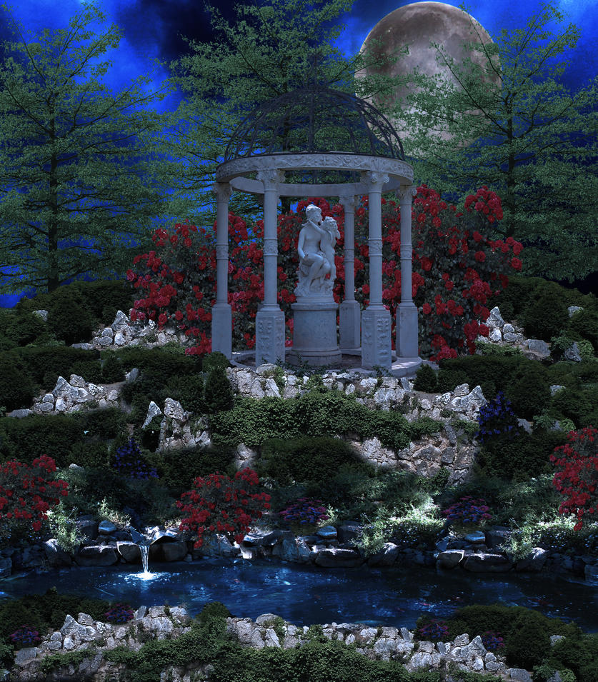 The Garden Pond Premade Background By Virgolinedancer1 On Deviantart