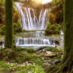 The Waterfall Summer Premade Background