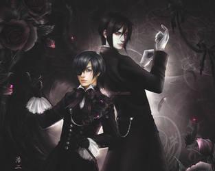 Ciel Phantomhive and Sebastian by K-Koji