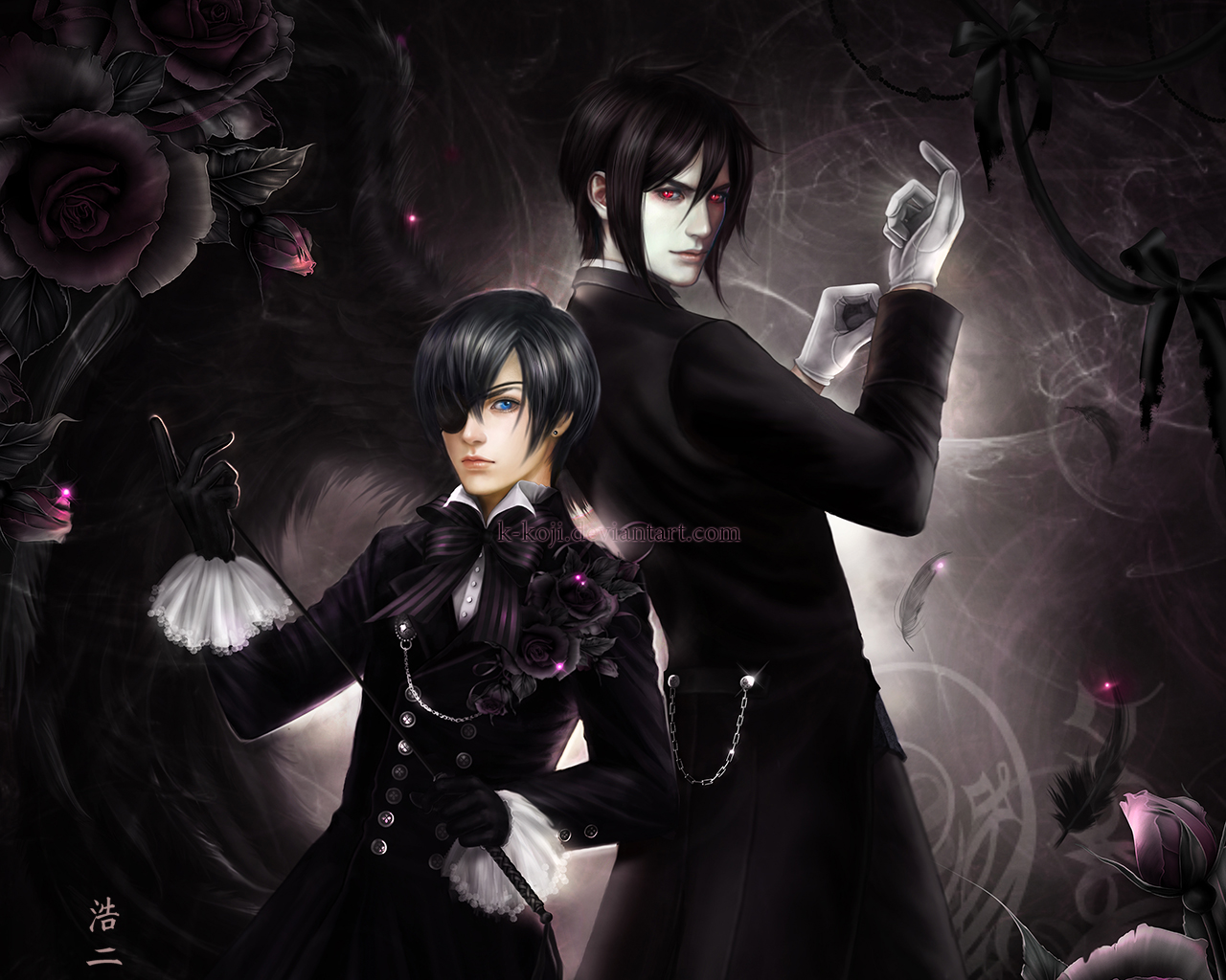 Ciel Phantomhive and Sebastian by K-Koji