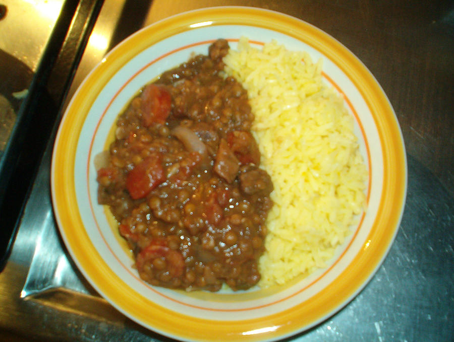 Spanish lentils with Saffron rice. by KuTheBrewer on DeviantArt