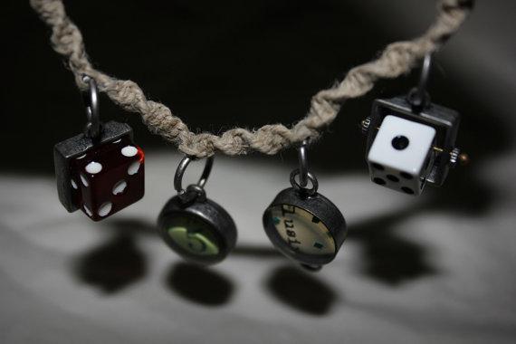 Handmade, Hemp, Found Objects Charm Bracelet. by Numbaholic13