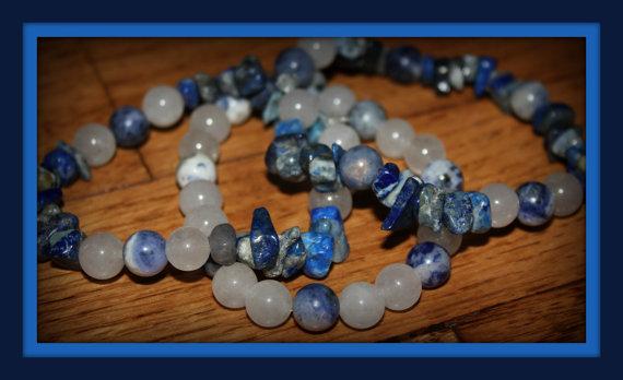 Handmade, Lapis Beaded, Stretch 3 Bracelet Set. by Numbaholic13