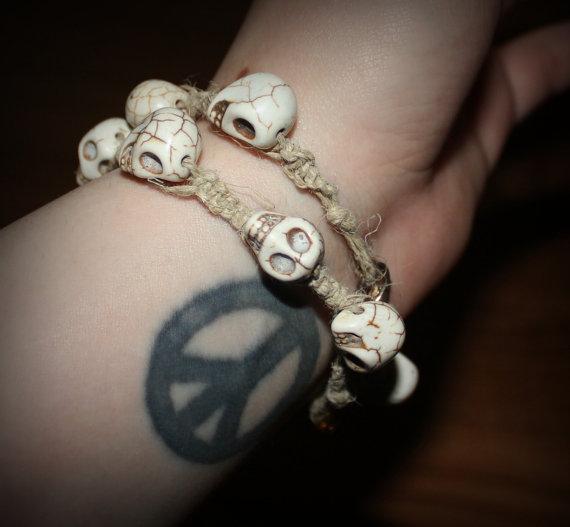 Handmade, Hemp Skull, 2 Bracelet Set. by Numbaholic13