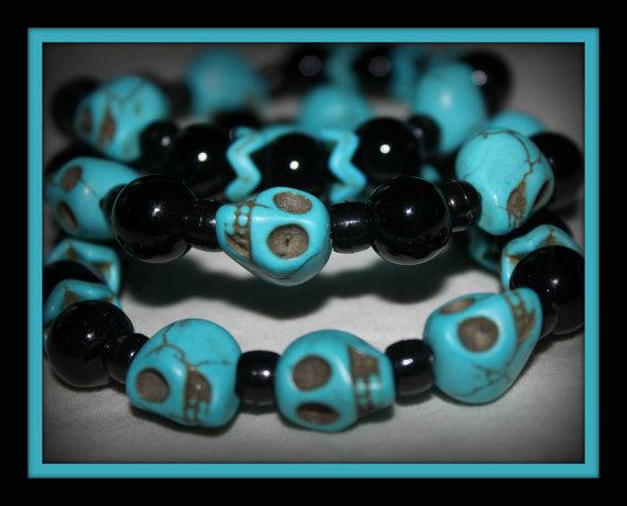 Turquoise and Black, Skull Beaded, 3 Bracelet Set by Numbaholic13