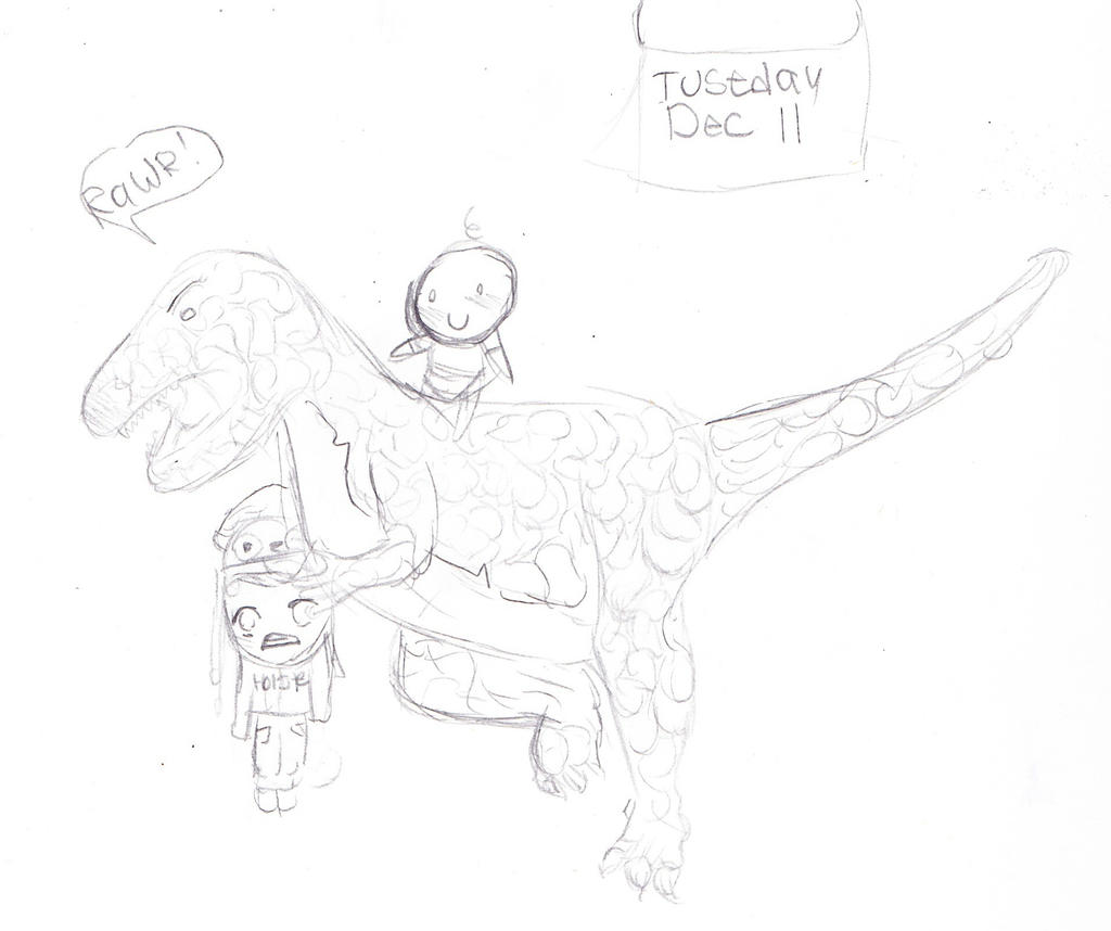 Frank and the dinosaur on Tuesday with a baby. by gardenflowers