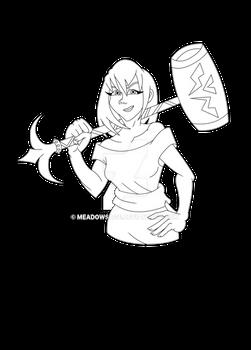 Commission: Amanda and Battle Hammer Line Art