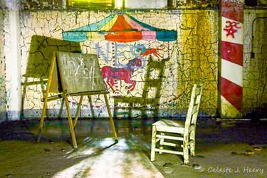 Abandoned Mental Asylum, Chair And Chalkboard by cjheery