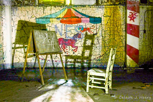 Abandoned Mental Asylum, Chair And Chalkboard