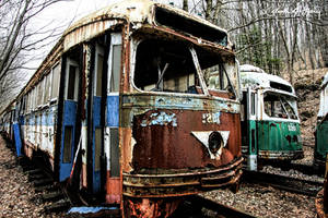 Trolley Graveyard - Brown And Green Cars by cjheery