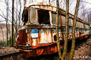 Trolley Graveyard - Blue and Rust by cjheery