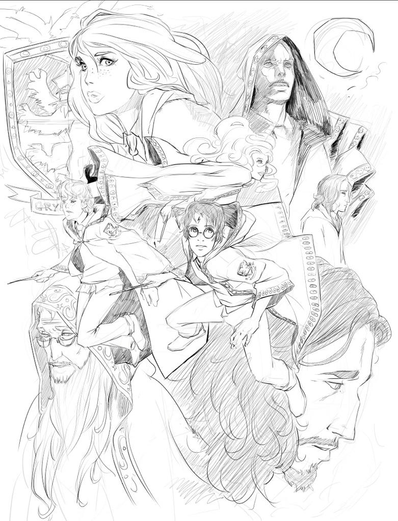 Line Drawing Harry Potter : Harry potter lineart by nesskain on deviantart