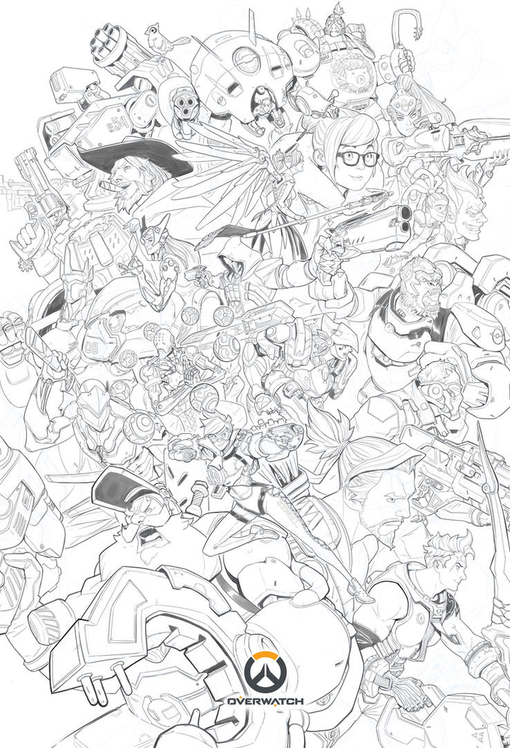 Overwatch ultimate lineart by nesskain on deviantart for Overwatch genji coloring pages